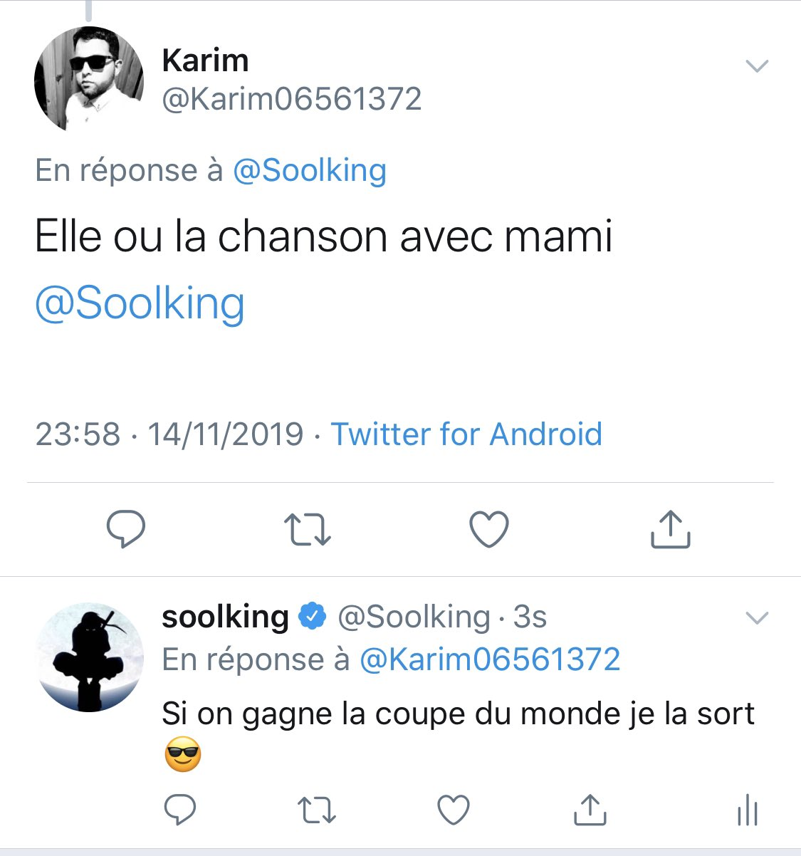 Réponse de Soolking à un fan sur Twitter